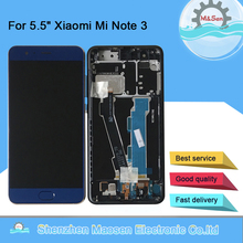 "5.5 ""Original M & Sen สำหรับ Xiaomi Mi หมายเหตุ 3 หน้าจอ LCD + Touch Screen Digitizer ลายนิ้วมือกรอบ Mi Note 3 + เครื่องมือ"