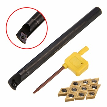 11 piezas DCMT0702 insertos de carburo + S12M-SDUCR07 aburrido barra 150mm con llave para torno CNC interior herramientas de torneado