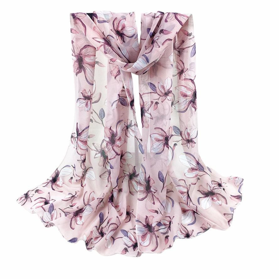 Unique Women Scarves Chiffon Flowers Printed Scarf New Design Long Soft Silk Shawls Spring Summer Hijab Wraps #9