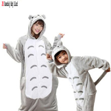 Winter Mother Daughter Flannel Hooded Animal Family Christmas Pajamas Cartoon Totoro Sleepwear Matching Outfits
