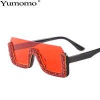 Половинчатые Квадратные Солнцезащитные очки со стразами, женские оранжевые синие Ретро градиентные тонированные цветные линзы, негабарит...
