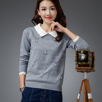 Fashion Autumn 2016 Women Long Sleeve Turn Down Collar Sweaters Casual Soft Beading Knitted Pullover Solid