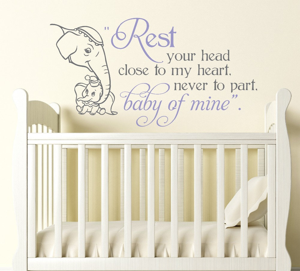 Baby Of Mine Wall Mural Decal Baby And Momma Elephant Custom Color  Available Vinyl Baby Nursery Design