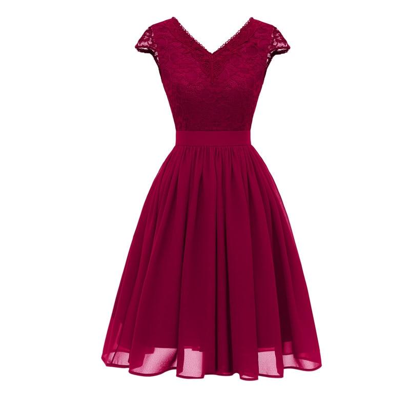 Robe 2019 Femmes Nouvelles De Fiesta Vêtements V Mousseline En Red Pink wine cou Vintage navy Blue Robes Dentelle Sexy Soie 1EqPCwnx