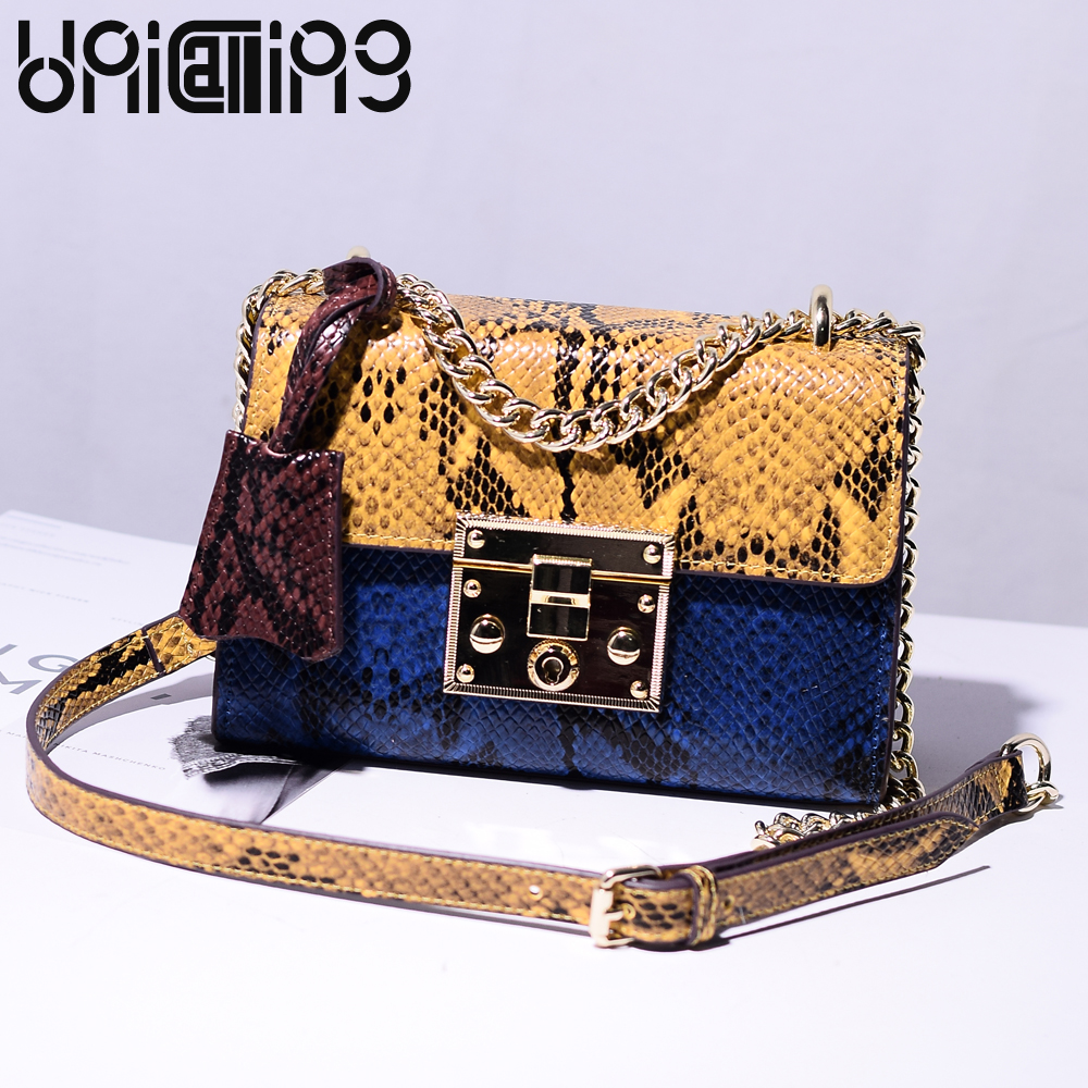 Fashion brand serpentine split leather women messenger bags Chain contrast color small shoulder bags Top grade mini women bag stripe contrast split pants