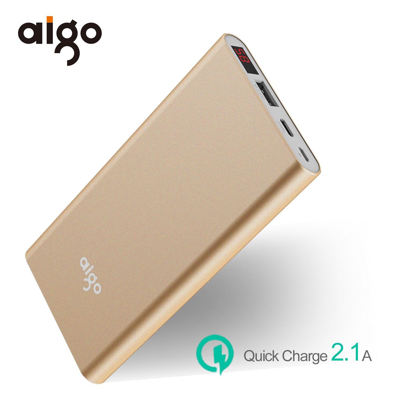 Aigo 10000mAh Power bank 2 inputs Ultra Slim LCD Display Li-polymer Powerbank Fast Charger External Battery For xiaomi Mi
