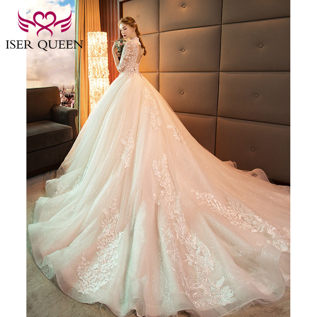 Image 4 - High Neckline Illusion Vintage Half Sleeves Fancy Embroidery Wedding Gown Sequined Backless Hollow Ball Gown Train Tulle WX0160-in Wedding Dresses from Weddings & Events
