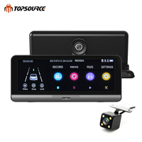 TOPSOURCE Car DVR Night Vision Dual Lens Camera Registrator HD 1080P 8 Inch Touch Screen Car