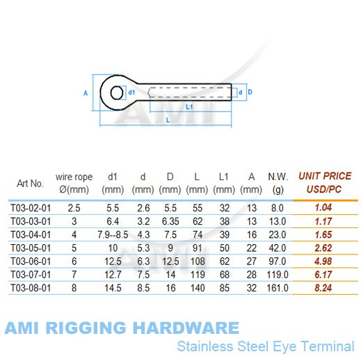 5mm wire, Swage eye terminal eye, stainless steel 316 cable ...