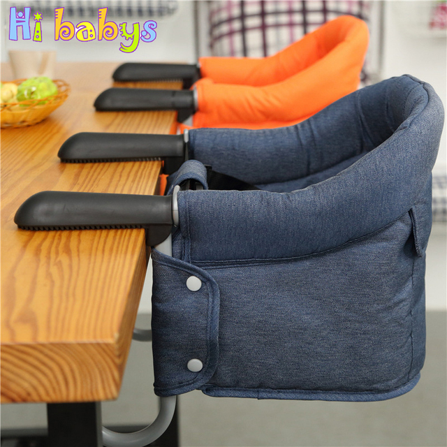 Portable Baby Highchair Foldable Feeding Chair Seat Booster Safety Belt Dinning Hook-on Chair Harness Infant Lunch Cushion Mat
