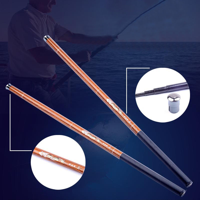 Dragon wood fishing rod Hand Pole Carbon Fiber Casting Telescopic Fishing Rods 3.6-7.2 Meters Ultralight fishing rod