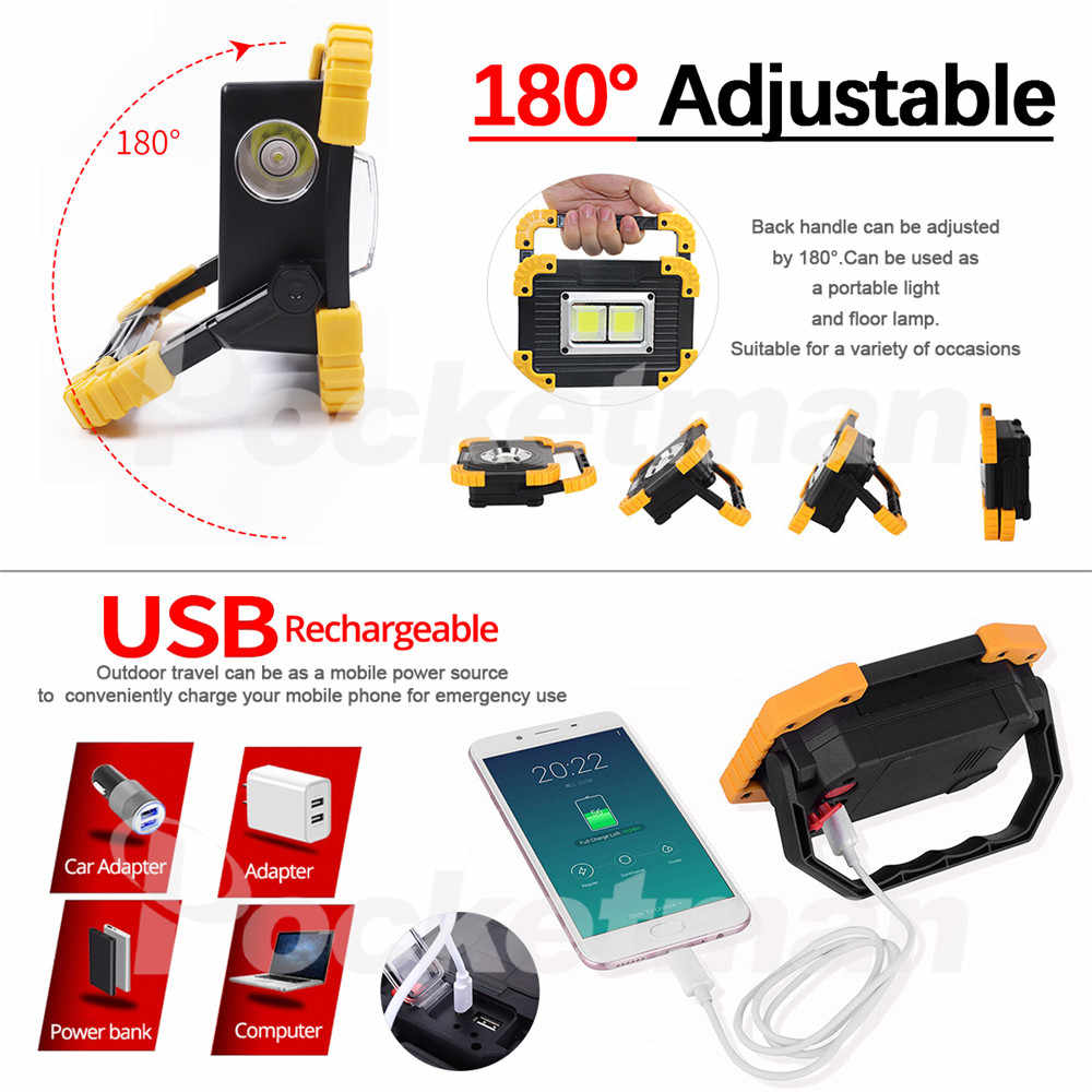 100W LED Portable Spotlight Work Light USB Rechargeable Flashlight 2*18650 Or 3*AA Battery For Hunting Camping Led Lantern