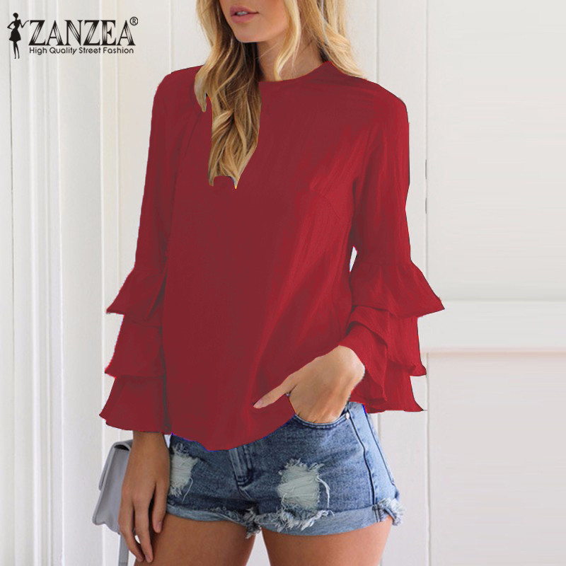 HTB1vtZMPVXXXXadapXXq6xXFXXX1 - Women Blouses Shirt Elegant Ladies O Neck Long Flare Sleeve