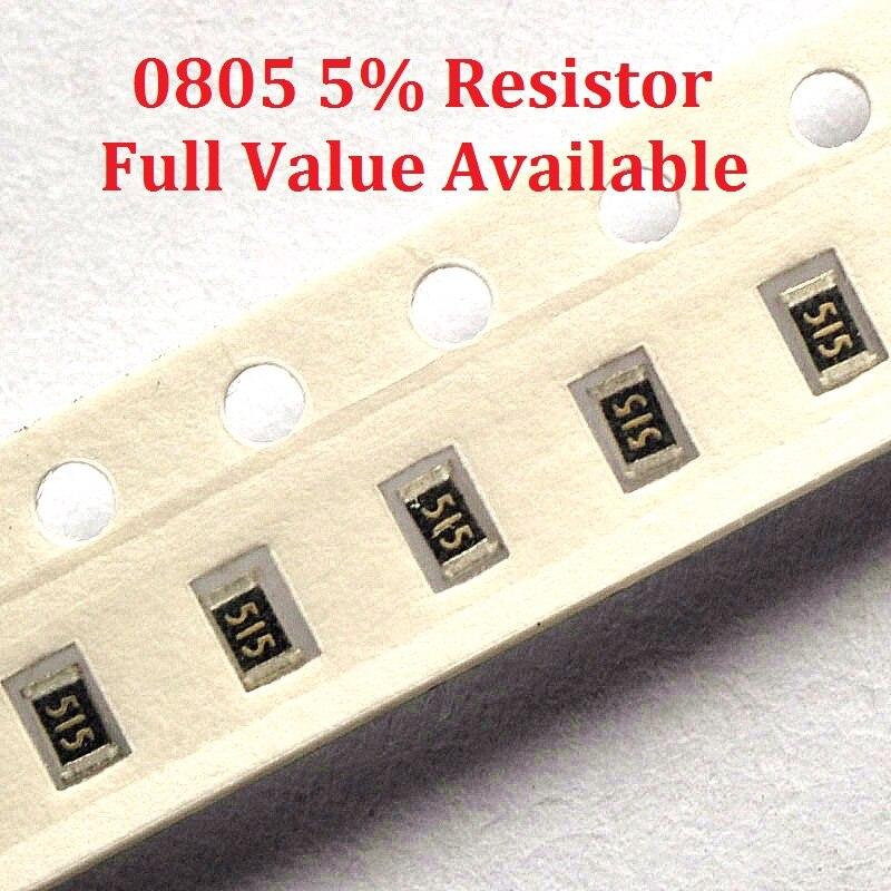 Резистор для микросхем SMD 300 шт./лот, 0805 0R/1R/1.1R/1.2R/1.3R/ 5% сопротивление 0/1/1.1/1.2/1.3 Ом резисторы 1R1 1R2 1R3 k, бесплатная доставка