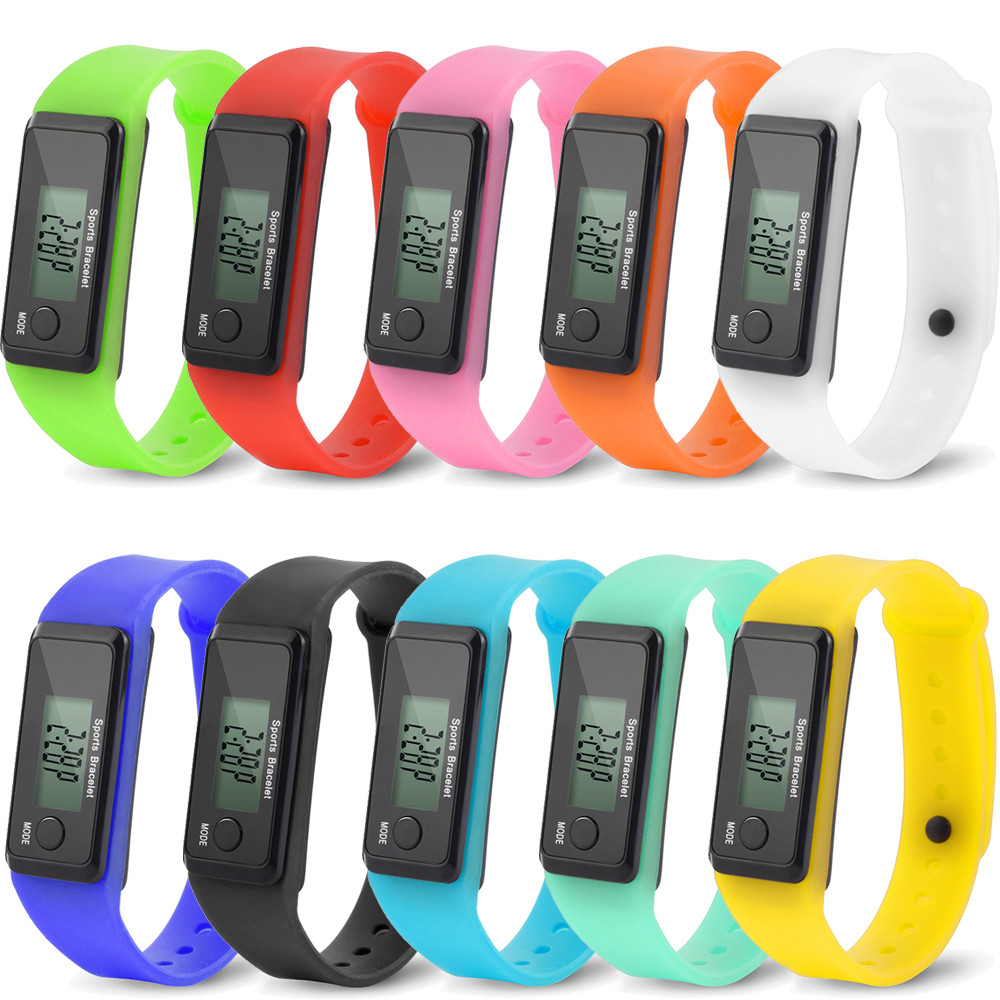 Digital Watch Wristwatches Run Step Watch Sports Bracelet Pedometer Calorie Counter Digital LCD Walking Distance 10 color #10