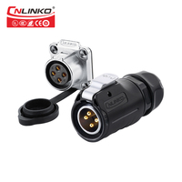 Cnlinko tuv ul  ce produtos painel m20 tomada de montagem ip67 500 v 20a 4pin conector de alimentação com tampa impermeável|connector 4pin|connector power|connector waterproof -