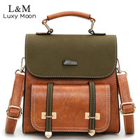 Vintage Women Bag Retro Brown Backpack Leather Shoulder Bag Female For Teenage Girls School Bags Fashion Backpacks Black XA1014H