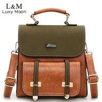 Vintage Women Bag Retro Brown Backpack Leather Shoulder Bag Female For Teenage Girls School Bags Fashion Backpacks Black XA1014H