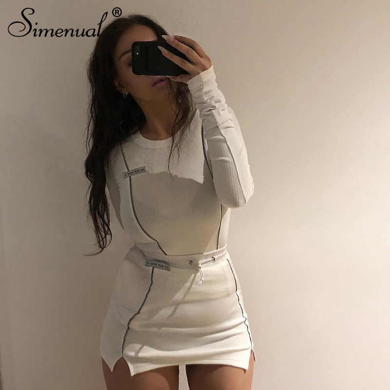 Simenual Casual Fashion Reflective Striped Two Piece Outfits Women Long Sleeve Top And Mini Skirt Sets 19 Autumn White Set New 14