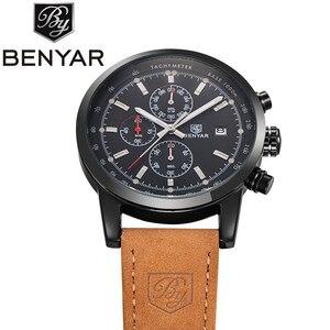 Image 5 - リロイ hombre 2019 トップブランドの高級 benyar ファッションクロノグラフスポーツメンズ腕時計ミリタリークォーツ腕時計時計レロジオ masculino