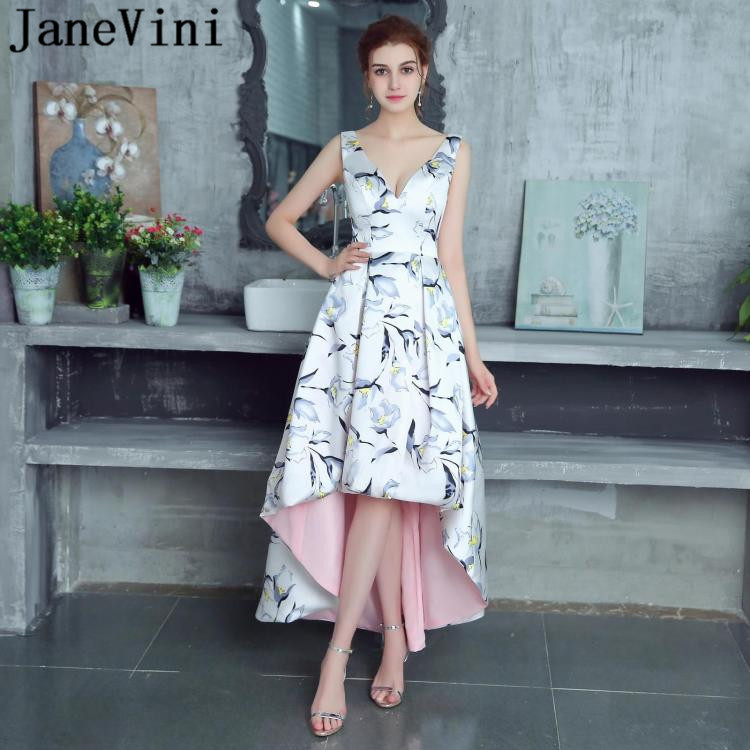 JaneVini High Low Floral Print Long Bridesmaid Dresses Satin A Line Sexy Deep V Neck Backless 2018 Formal Prom Gown Floor Length שמלת קיץ צבעונית