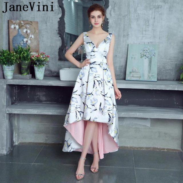 JaneVini High Low Floral Print Long Bridesmaid Dresses Satin A Line Sexy Deep V Neck Backless 2018 Formal Prom Gown Floor Length
