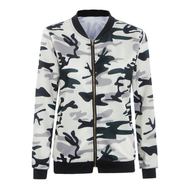 ab9722c92d415 Women Fashion Coat Jacket Camouflage Zippers Up Jacket Cool Camo Flower  Print Jacket Ladies Biker Coats Outerwear