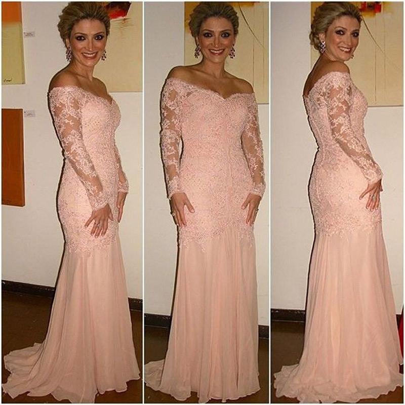 Vestidos-Longos-De-Festa-Off-Shoulder-Long-Sleeve-Lace-Evening-font-b-Dress-b-font-Pink