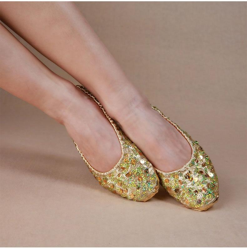 Adult Soft Gold Silver Sequin Oriental Belly Ballet Dance Shoes for Women  Ballerina Gymnastics Foldable Practice Dancing Flats d1c1cda8fff5