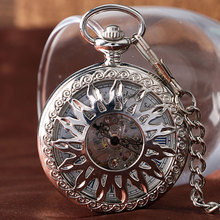 Fashion Luxury Silver/Rose Copper Self Winding Retro Steampunk Trendy Pendant Necklace Automatic Mechanical Pocket Watch Chain