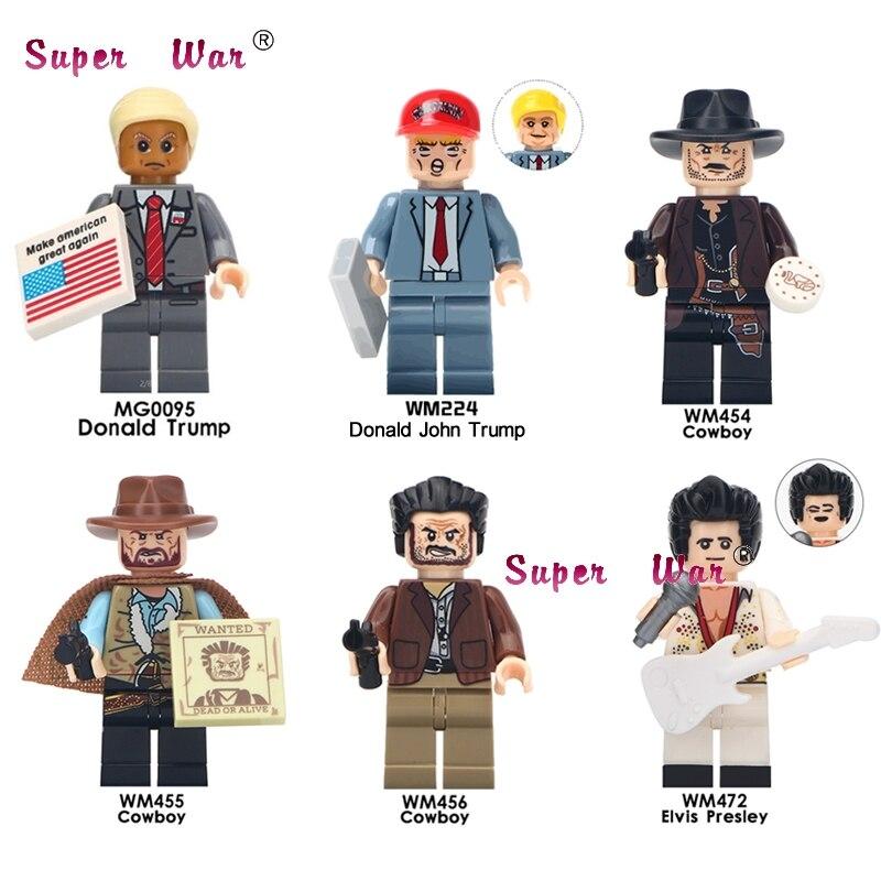 Один Дональд Трамп Элвис Арон Пресли ковбой Хэллоуин тема ужасов фильм цифры строительные блоки кирпичи игрушки для детей
