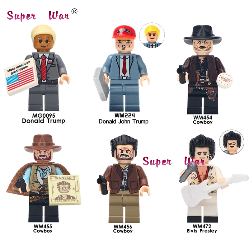 Single Donald Trump Aron Cowboy Halloween The Horror Theme Movie building blocks bricks toys for children image