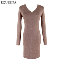 Rqueena 2017 Autumn Winter Clothing Women Dress Knitted Dress Korean Style Long Sleeve V Neck Woman