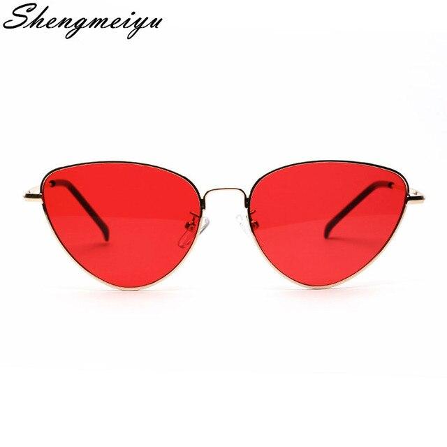 Lente de óculos de Sol Retro Cat Eye Sunglasses Mulheres Amarelo Vermelho Peso Leve Moda Óculos De Sol para as mulheres Óculos de Metal Do Vintage