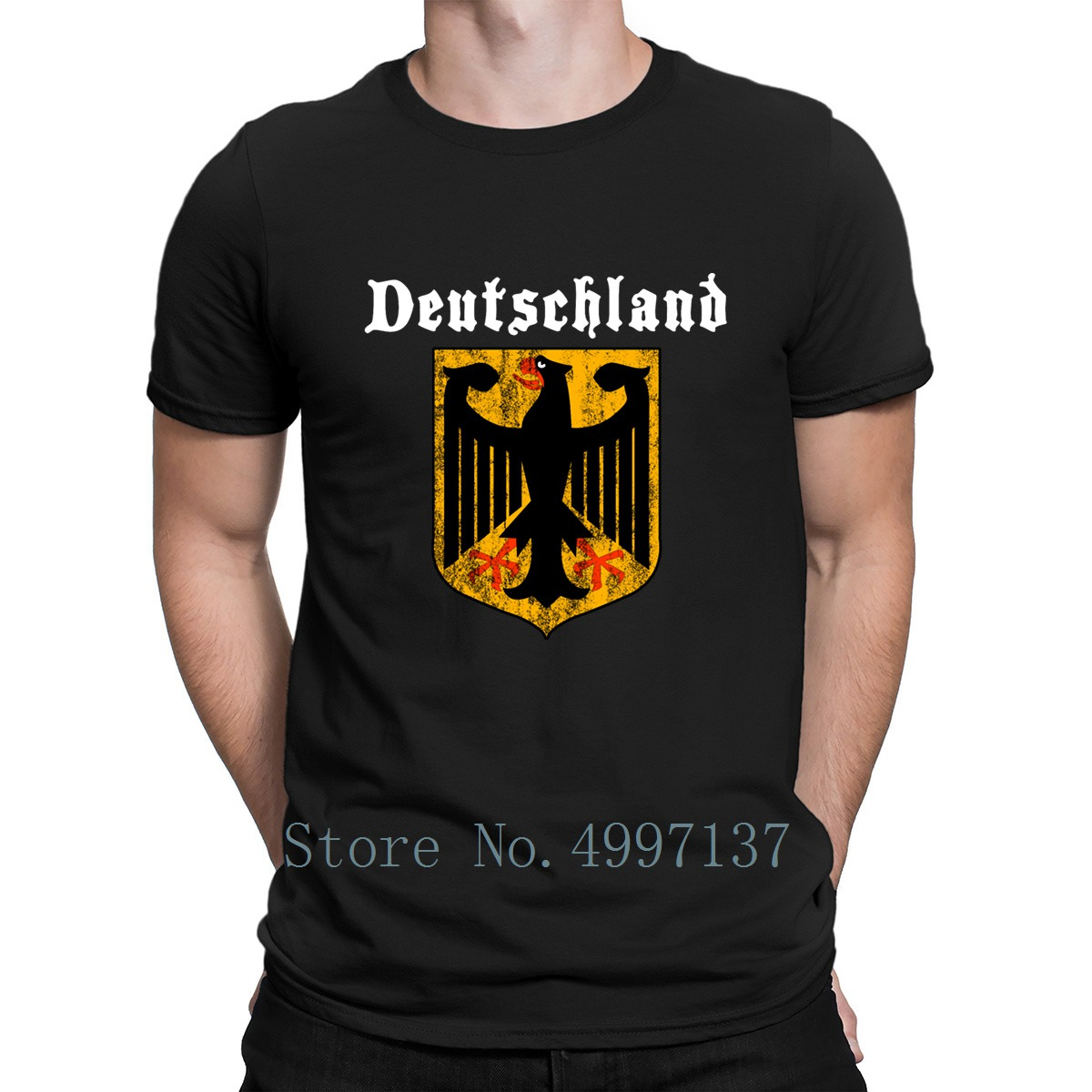 <font><b>Deutschland</b></font> T Shirt Spring Autumn Vintage Knitted Euro Size S-3xl Basic Crazy Cool Cotton Shirt image