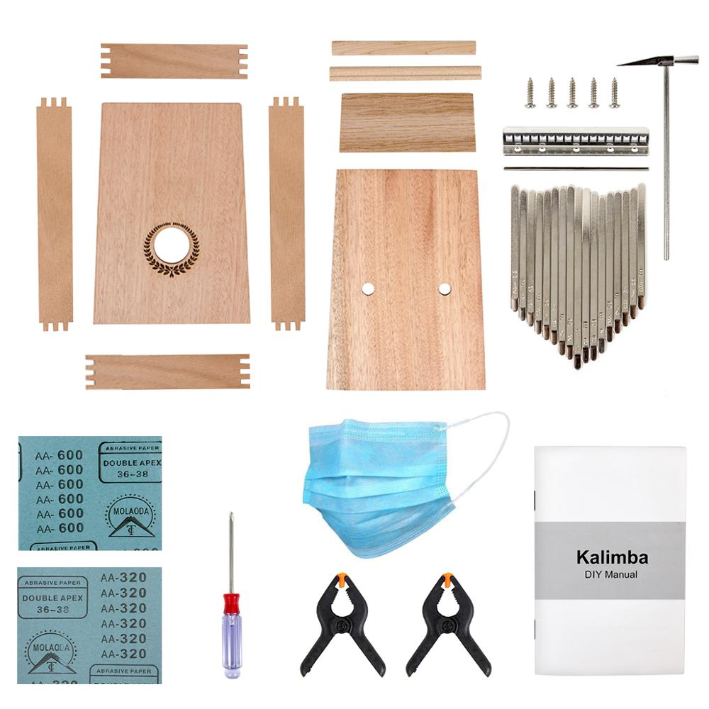Kmise Kalimba DIY Kit 17 Key Thumb&Finger Piano With Manual Tools Tuner Hammer Glue And Paint Handcraft Birthday Present For Kid