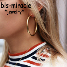 Bls-miracle Fashion Gold Color Coarse Round Earrings For Women 2019 New Brincos Statement Punk Metal Earring Geometric Jewelry