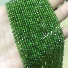 Bhd 2mm 3mm Natural Round Faceted Green Diopside Fine Gemstone Loose Beads DIY Accessories for Jewelry Necklace Bracelet Making