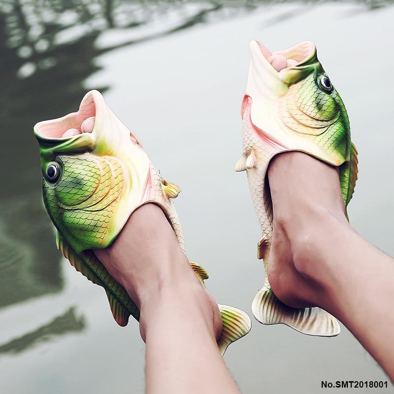 Bomlight Personality Shoes Men Sandals Fish Slippers Mens Flip Flops Fish Sandals Beach Strange Slippers Sandalias De Hombre vacation