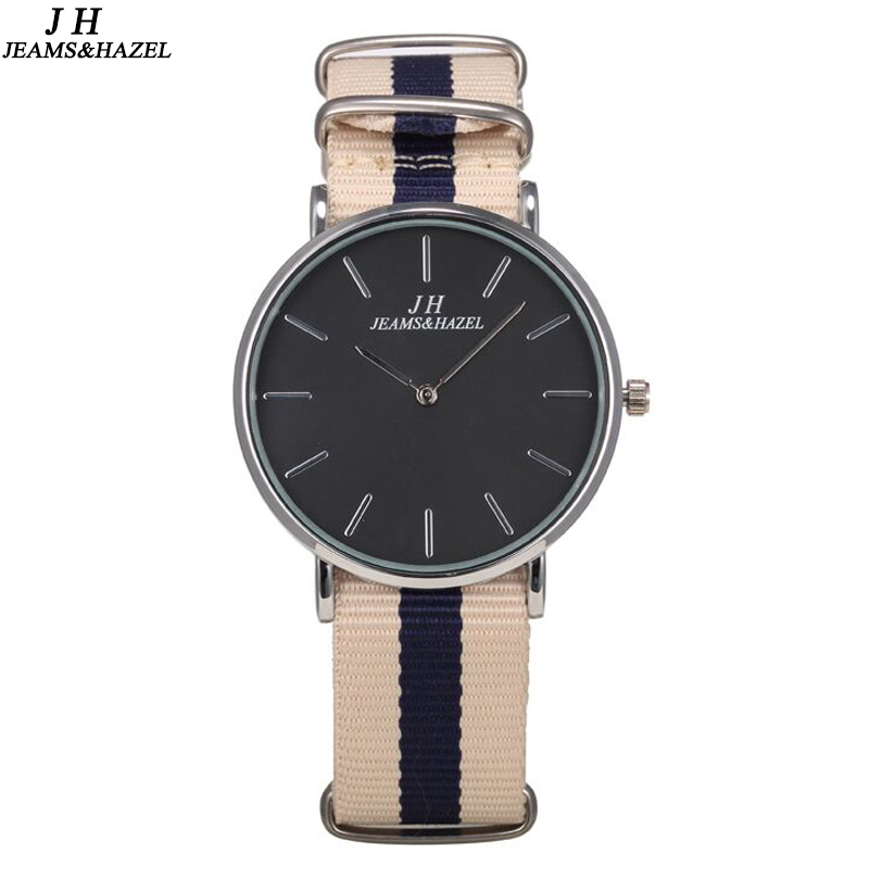JEAMS & HAZEL 슬림 캐주얼 스타일 스포츠 남성용 시계 나토 나일론 쿼츠 손목 시계
