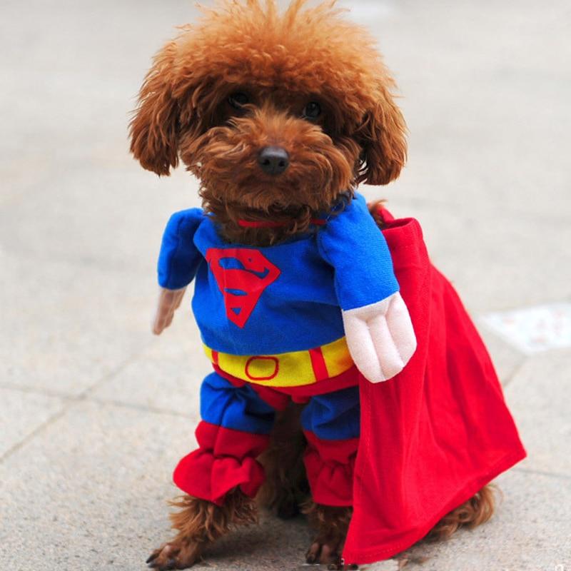 2017 Halloween Hund Kleidung Nette Superman Morphsuits Hund Mäntel Vier Fuß Hund...