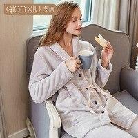 Winter new arrival Women Pyjamas Sets pajamas Sleepwear Suit Thicken Warm Flannel nightgown Female lapel Cardigan Pijama Mujer