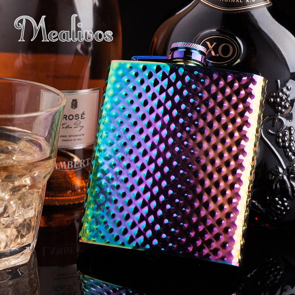 Mealivos Mode arc-en-Diamants briller 8 oz En Acier Inoxydable Hip Flask Alcool Alcools Whiskey vodka Bouteille cadeaux vin pot