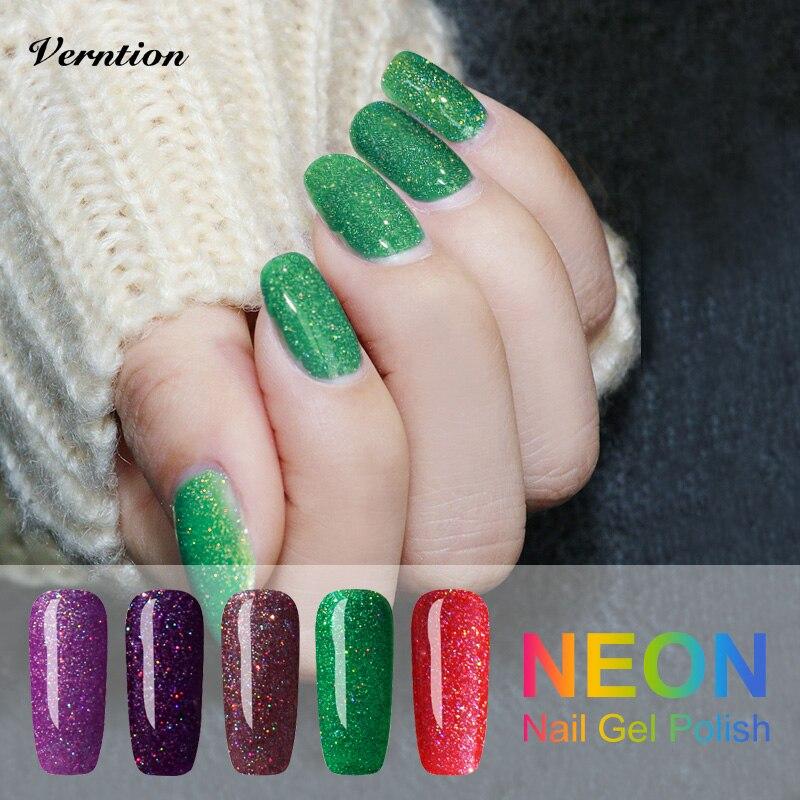 verntion neon gel uv glitter nail