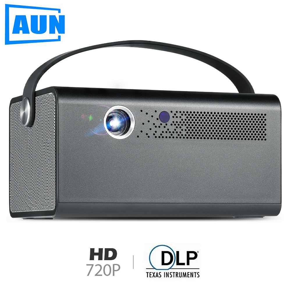 AUN Newest MINI Projector V7, 1280x800P, Android WIFI Bluetooth LED Projector. Support 4K Video, Portable 3D home cinema(China)