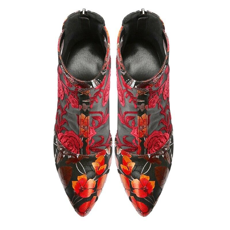 Mode Maille De Femmes Broder Femme rouge Élégant Rouge Respirant Bottines D'été Fleur Autuspin Cocktail Bleu Pour Bottes Sexy Chaussures n0OYxES