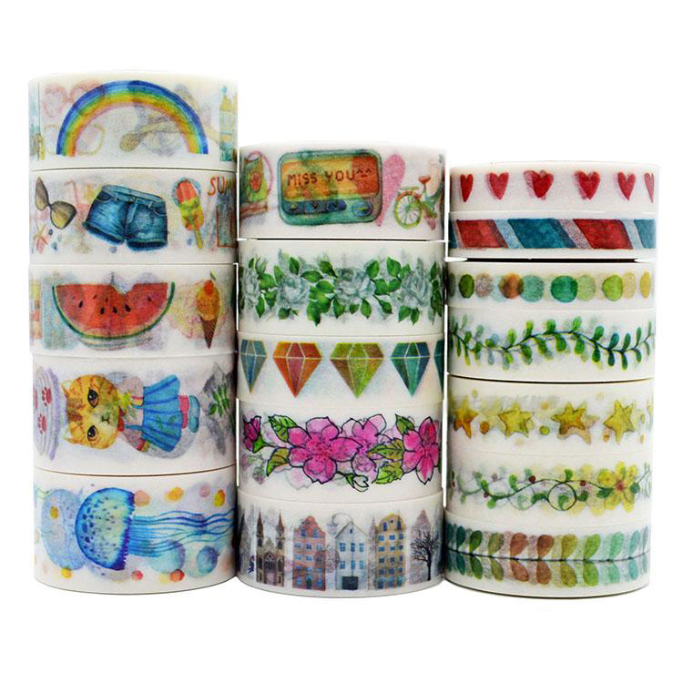 17 Designs (Accept Select) 15/20/25mm Japanese Washi Decorative Adhesive Tape Retro Flower Animals patterns Masking Paper Tape