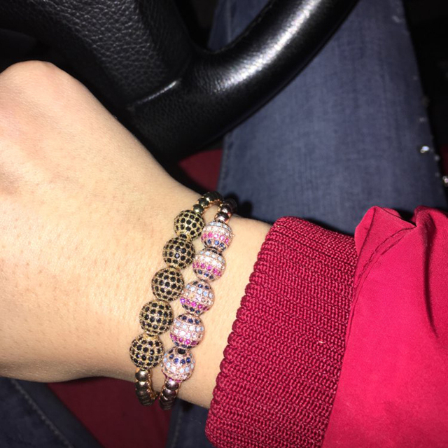 Купить микро браслет смешанных цветов с кубическим цирконием медный