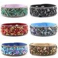 Leather Druzy Semi-precious Stone Velvet Rubble Stone Bangle Band Crystals Cuff Bangle Bracelets