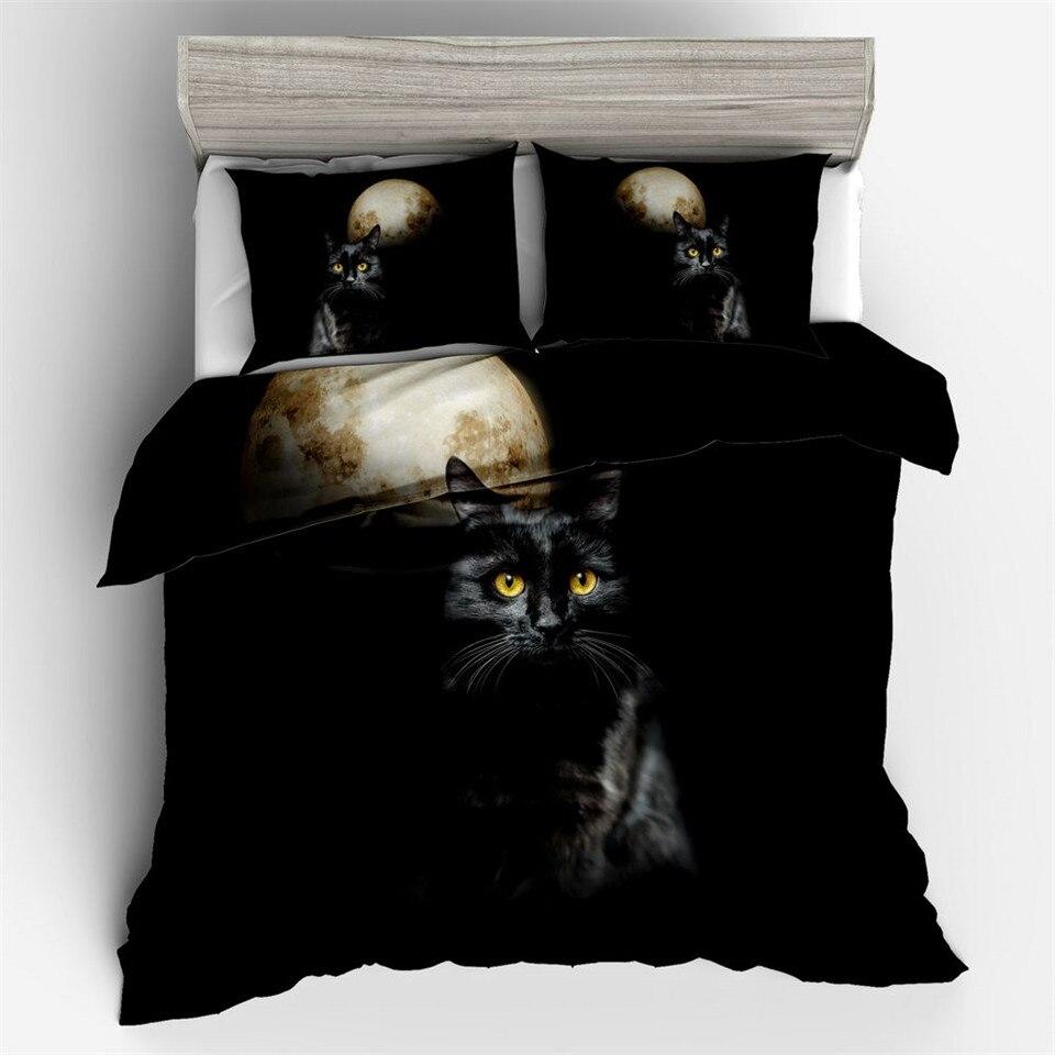 Bed Linen Black Cats 3 D Bedding Set  Printed Animal Duvet Cover Sets Twin US AU EU Size Black Bed Linen Set 220 X 240 CM